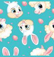seamless pattern with heads rabbits and lambs vector image vector image