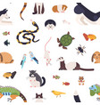 seamless pattern with pets on white background vector image vector image