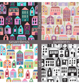 Set of seamless pattern houses vector image vector image