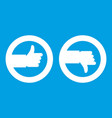 signs hand up and down icon white vector image vector image