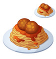 spaghetti and meat balls cartoon icon vector image vector image