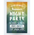 Summer Beach Party Flyer or Poster Night Club vector image vector image