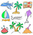 summer element holiday doodle style vector image vector image