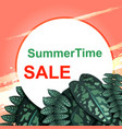 summer sale concept pink sunset and green leaves vector image
