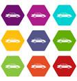 taxi icon set color hexahedron vector image vector image