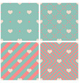 tile pattern with hearts on pink green background vector image vector image