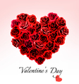 Valentines Day Gift Card Heart made of red roses vector image vector image