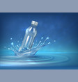 water bottle advertising realistic 3d background vector image