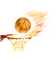 Watercolor basketball ball thrown in a basket vector image