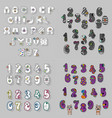 white gray and purple letters and numbers vector image vector image