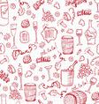 Wine sketch vintage seamles vector image vector image
