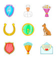 animal support icons set cartoon style vector image vector image