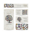 Art tree with mugs and cups business cards design vector image