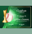 baseball certificate diploma with golden cup vector image vector image