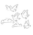 birds and clouds hand drawn vector image