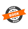 book sign book orange-black round ribbon sticker vector image vector image