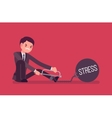Businessman chained with a metall weight Stress