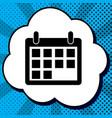 calendar sign black icon in vector image