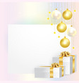 card with christmas balls and gift boxes vector image vector image