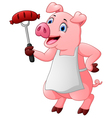 cartoon chef pig vector image vector image