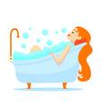 cartoon color character woman in bathtub concept vector image vector image