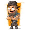 Cartoon muscular biker in bandanna vector image vector image