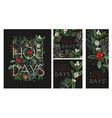 christmas greeting card or poster with botanical vector image vector image