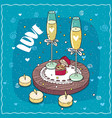composition with champagne and two wedding rings vector image