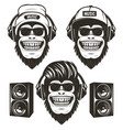 cool hip hop music monkey set hand drawn vector image vector image
