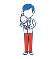 cute dad holding her baby lovely people vector image vector image