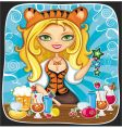 cute tigress bartender vector image vector image