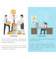 finance and online collection of cartoon posters vector image