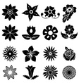 Flower silhouette icons set vector image