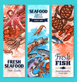 fresh fish and seafood sketch banner set vector image vector image