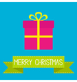 Gift box with ribbon and bow Merry Christmas card vector image vector image