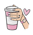 girl holding a pink cup coffee vector image vector image