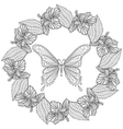 Hand drawn zentangle Butterfly in wreath of vector image vector image