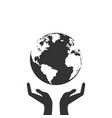 hands holding globe earth web black icon save vector image vector image