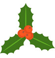holly berry and leaves flat icon vector image vector image