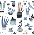 house plants hand drawn color seamless vector image vector image