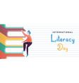 literacy day concept kid climbing book mountain vector image vector image