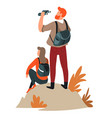 man and woman couple hiking active lifestyle vector image vector image