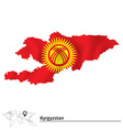Map of Kyrgyzstan with flag vector image vector image