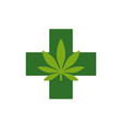 marijuana leaf with green cross medical cannabis vector image