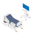 mobile hospital bed and medical equipment vector image vector image