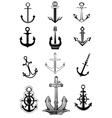 Modern and vintage anchor icons vector image vector image