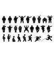 overweight fat man basic poses and postures stick vector image