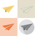 Paper plane in four design vector image