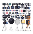 photographer equipment icons in flat style vector image