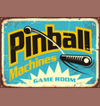 pinball machines game room retro sign vector image